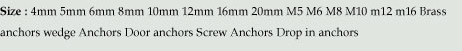 Brass Anchor brass anchoring systems