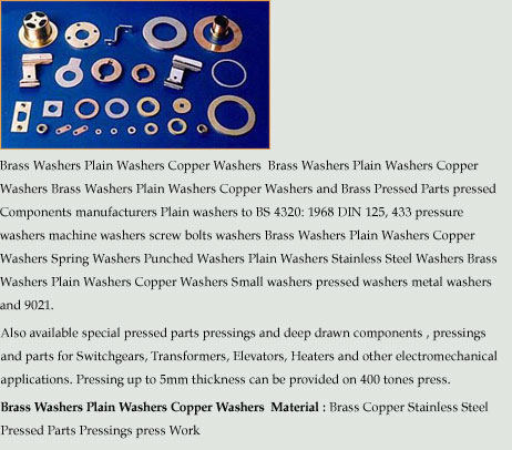 Brass Washers Plain Washers                      Copper Washers Brass Pressed Parts pressed Components